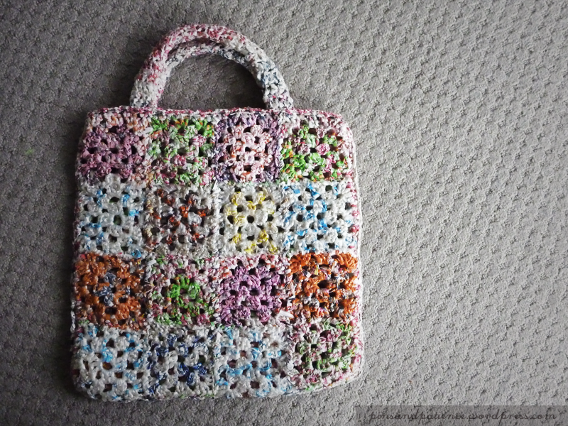 Recycled Bread Bag Crocheted Library Bag
