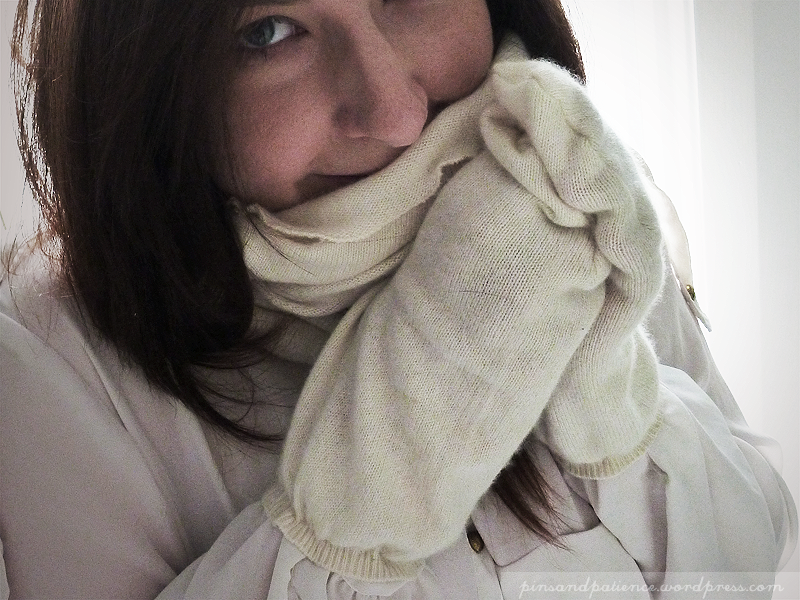 Sewing Re-fashion: Cowl Scarf and Weird Mittens from Cashmere Sweater