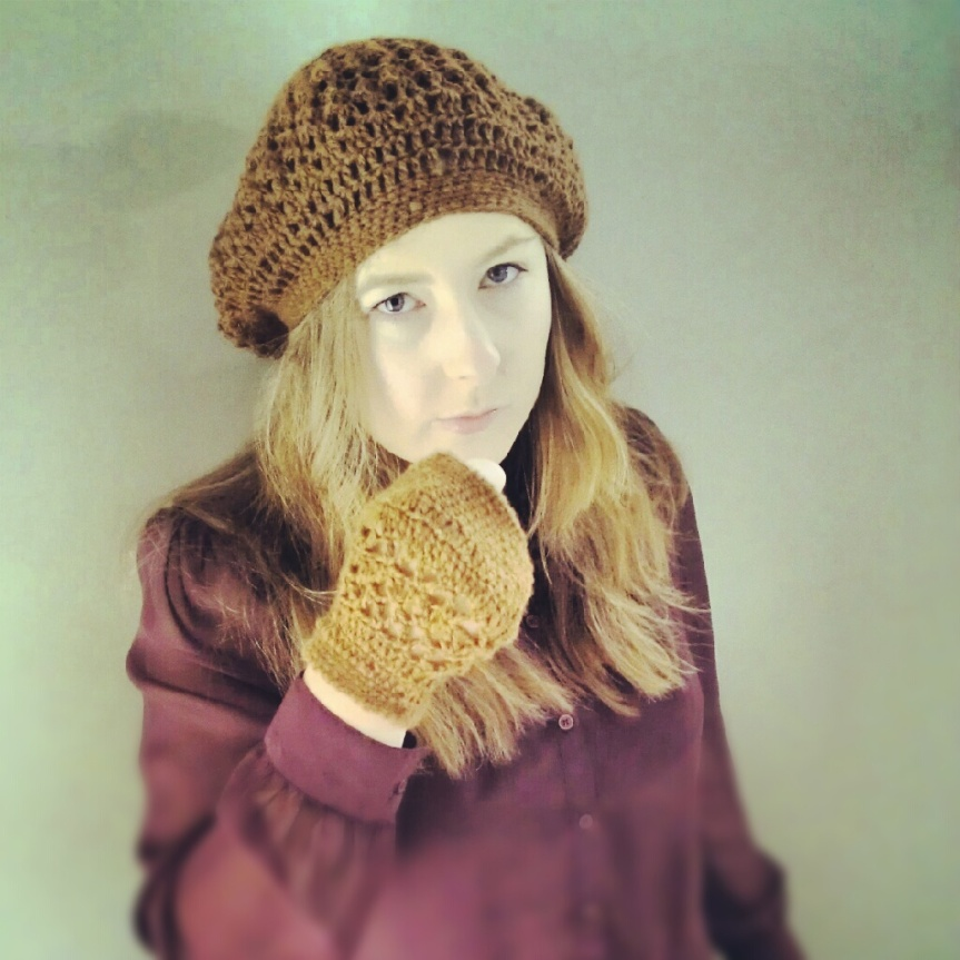 Completed Crochet Project: Rosie Pinecone Delicacy Beret and Grandma Punk One Mitt
