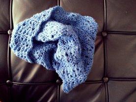 Blue Crochet Cowl Scarf