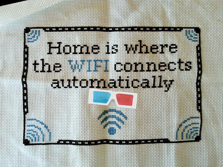 Home is where the WIFI connects automatically cross stitch