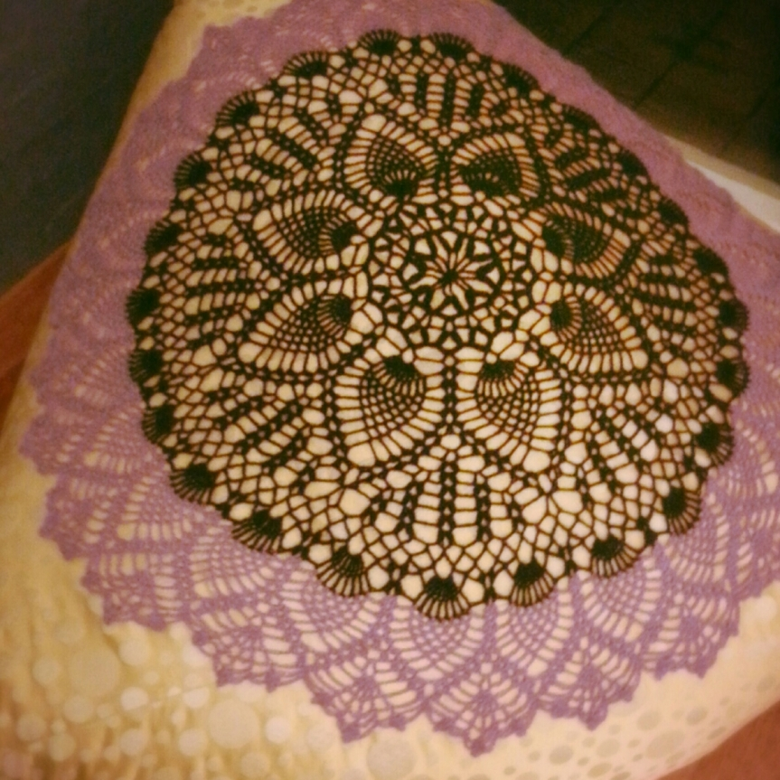 Crochet Double Doily Shawl with Possum!