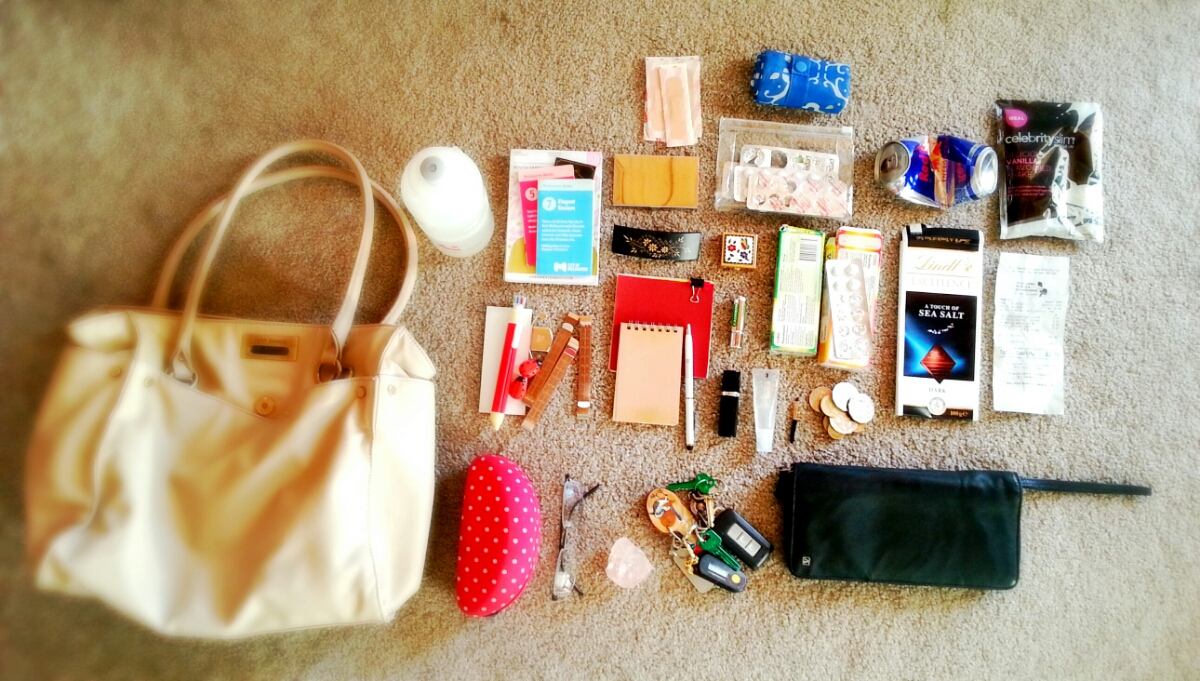 Handbag Contents Organised Neatly