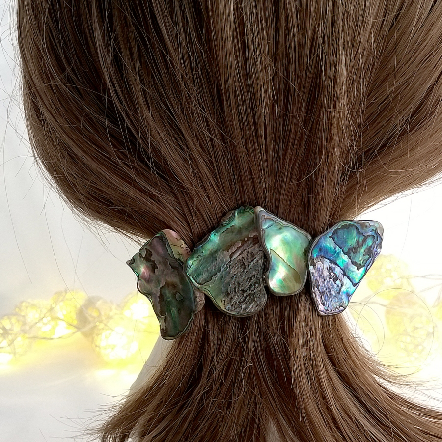 New Zealand Pāua Shell Hair Barrettes Clip with 4 shell chips