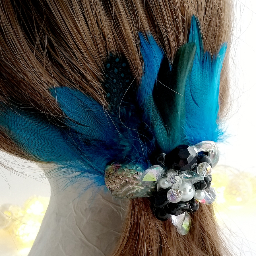 Crystal beaded feather hair barrette clip with seashells