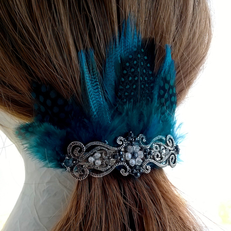 Feather and Filigree Hair Barrette Clip Turquoise and Blue
