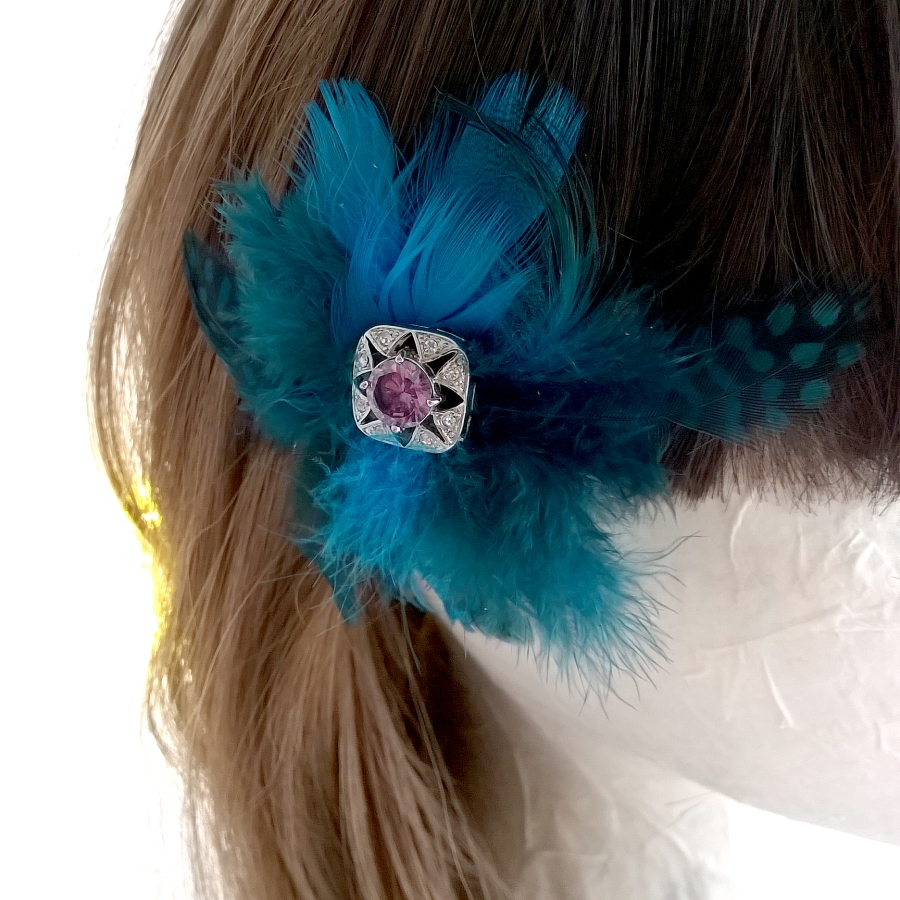 Lilac diamante and feather brooch or hair clip