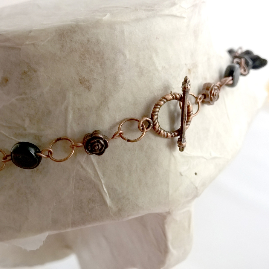 Copper glass bead necklace