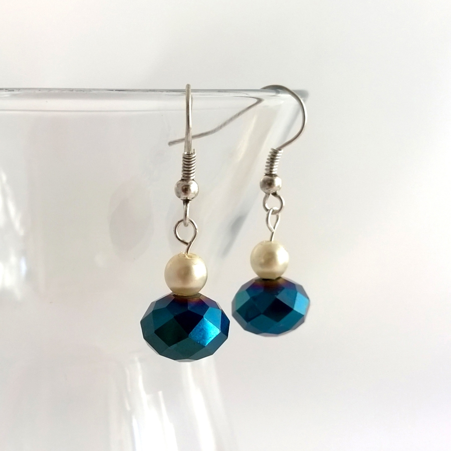 Vintage pearl and blue crystal earrings