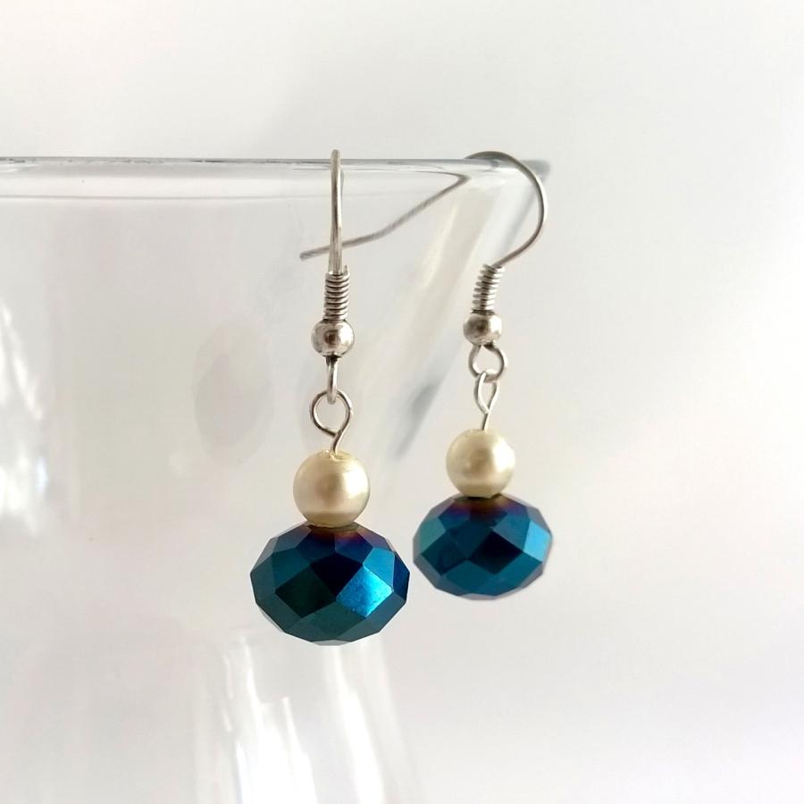 Vintage pearl and blue crystal earrings
