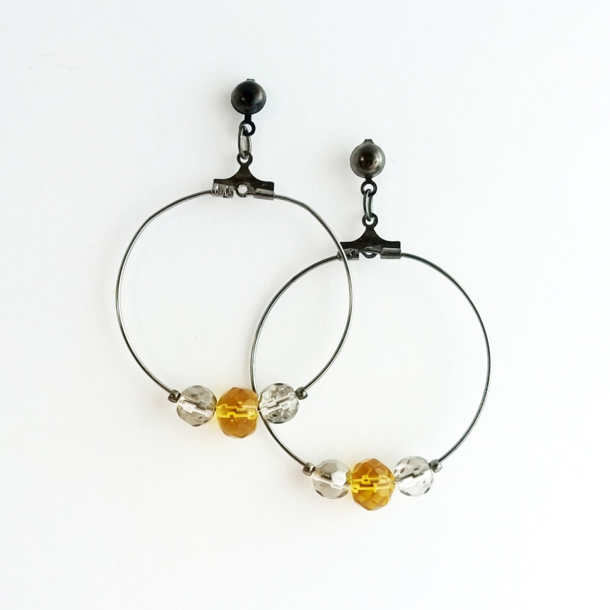 Swarovski crystal and glass bead hoop earrings