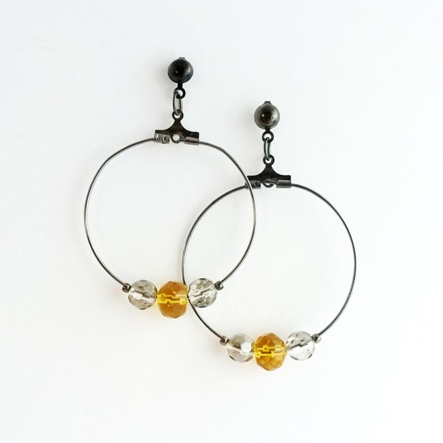 Swarovski crystal and glass bead hoop earrings