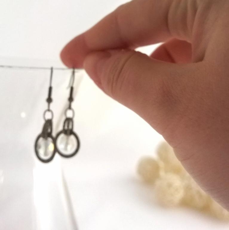 Crystal Bead Medieval Style Silver Earrings - Handmade