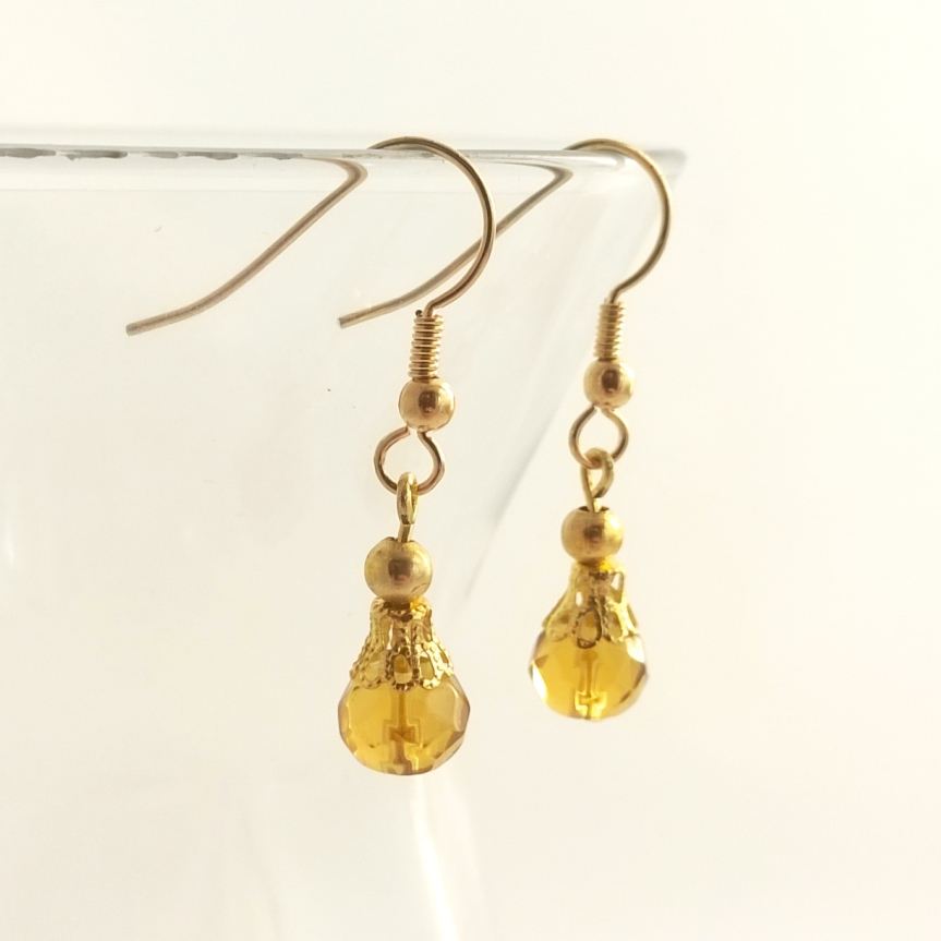 Sunshine Yellow Glass Bead Earrings with Gold Filgree Detail - Handmade