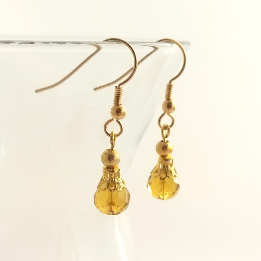 Sunshine Yellow Glass Bead Earrings with Gold Filgree Detail - Handmade