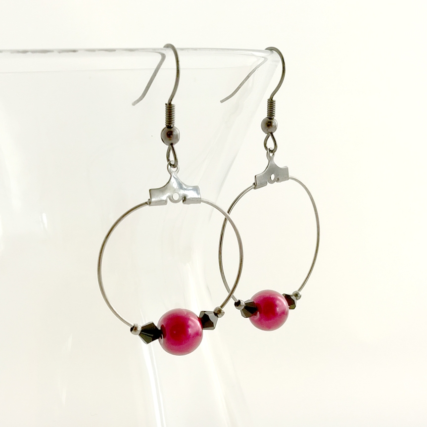 Swarovski Crystal and Red Glass Pearl Hoop Earrings - Handmade