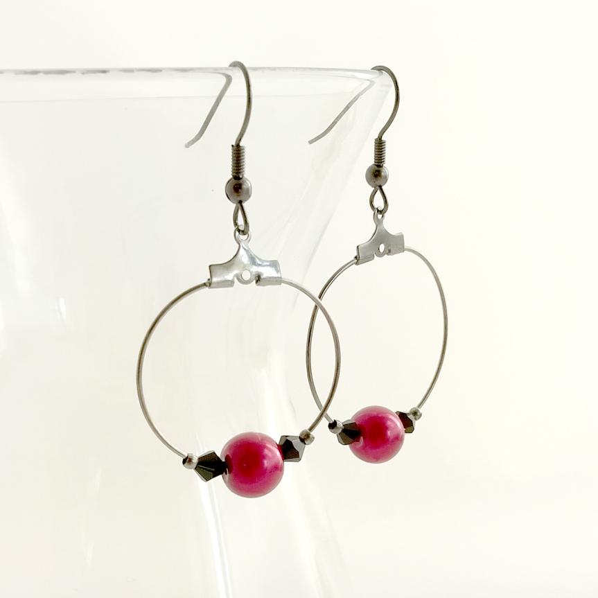 Swarovski Crystal and Red Glass Pearl Hoop Earrings - Handmade