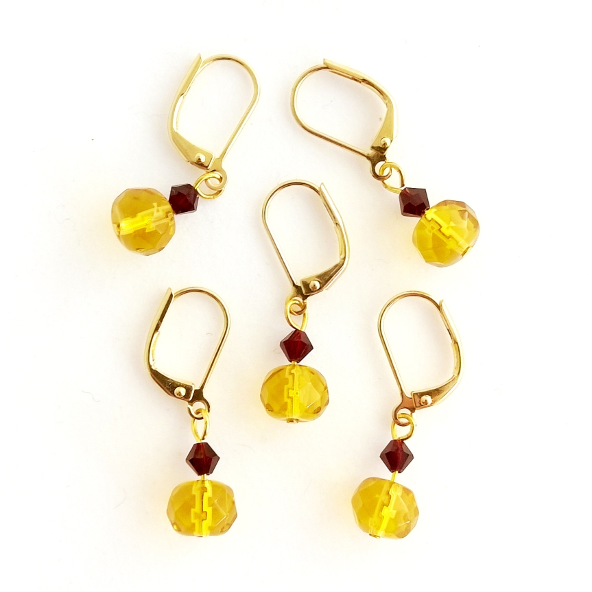 Glass Beaded Knitting and Crochet Stitch Markers in Yellow and Gold - Handmade